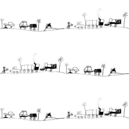 traffic jam, kids drawing seamless pattern