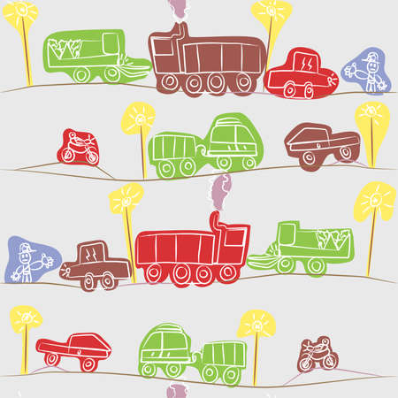 truck on highway: Rush Hour - dibujo para ni�os  Vectores