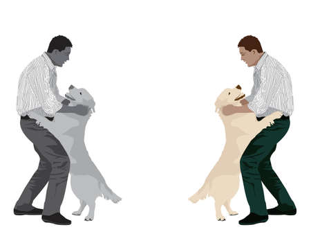 middle aged man: man playing with dog