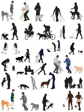 人々 および彼らの犬のコレクション  イラスト・ベクター素材