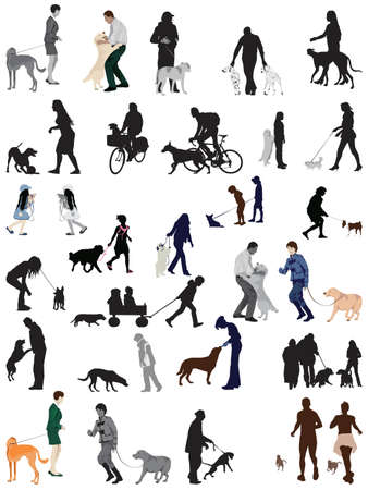 people and their dogs collection Stock Vector - 8328697