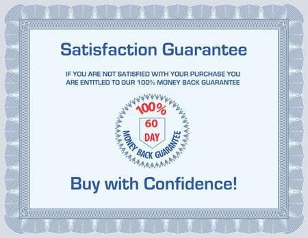 zufriedenheitsgarantie: 100 % Geld zur�ck Zufriedenheit Garantie Vorlage (leere mit Beispiel-Text) Illustration