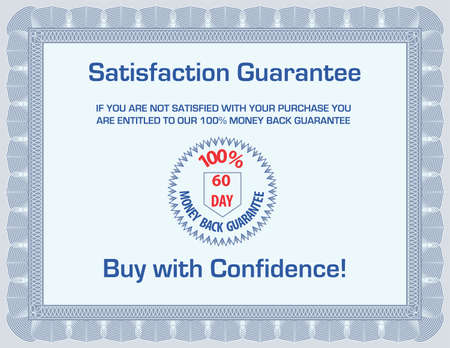 money back: 100 % money back satisfaction guarantee template (blank with sample text) Illustration