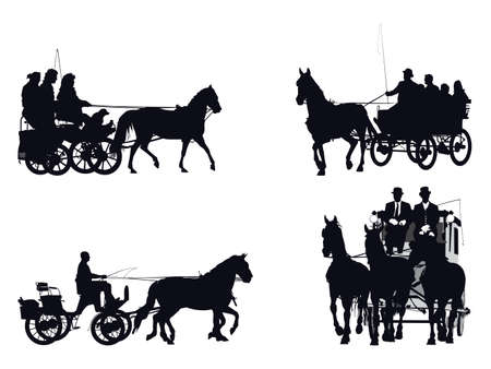 chariot: horse and carriage silhouette collection Illustration