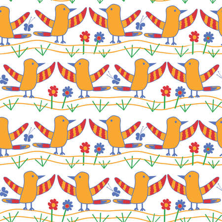childs: Seamless Kid Pattern with Birds. Childs doodles. Illustration