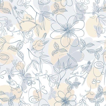 シームレスな柔らかい花の背景;ベクトル イラスト  イラスト・ベクター素材