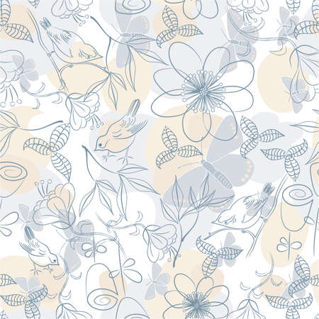 Seamless soft floral background; vector illustration Vector