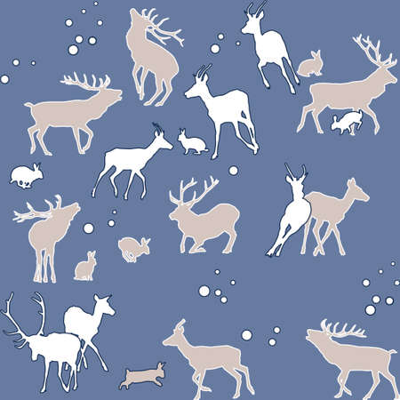 deer and bunnies - winter seamless background  Vector