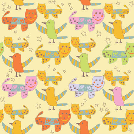 Cute Seamless  Pattern with Cats and Birds. Childs doodles. Vector