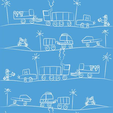 ラッシュアワー (子供のためのデッサン)  イラスト・ベクター素材