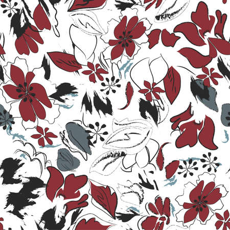 Retro Repeating Floral Pattern Vector
