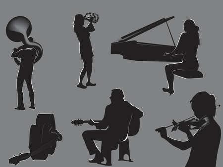 french horn: musicians - concert flyer elements   Illustration