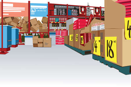 warehouse equipment: large store interior with copy space Illustration