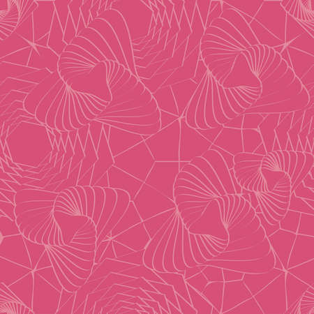 honeysuckle: Trendy Honeysuckle Pink Colored Seamless Pattern Illustration
