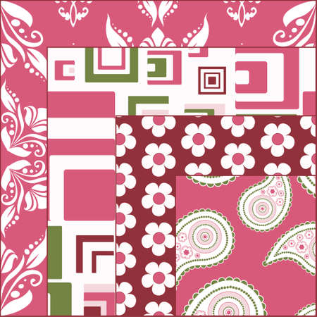 Four  matching seamless patterns Vector