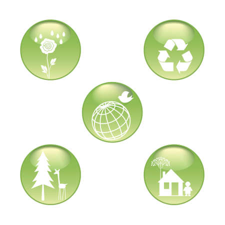 Eco Stickers Set Stock Vector - 8847230
