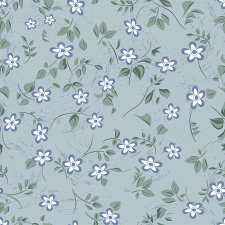 Blue repeating floral pattern Vector