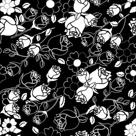 Seamless Rose Pattern in Black and White Vector