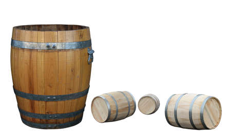 old barrel and new  barrels on white Stock Photo - 9069861