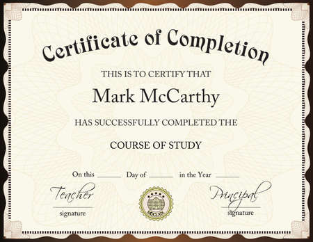 CERTIFICATE OF COMPLETION TEMPLATE Illustration