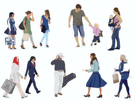 many people: human figures on white Illustration