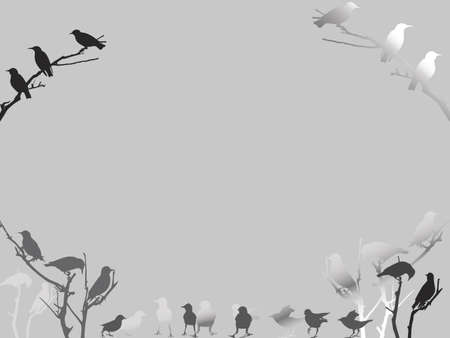 old-fashioned gray birds background Vector