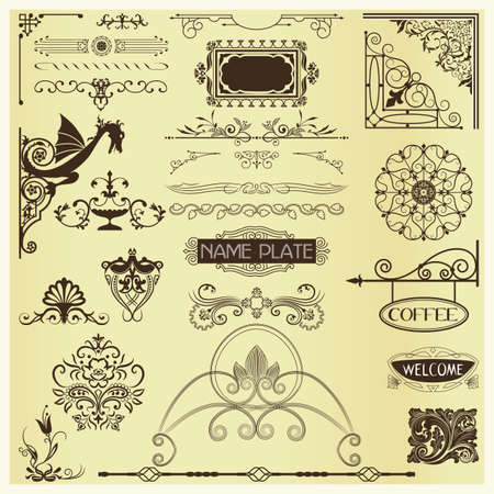 nameplate: Page Embellishments - elements for advertising,stationary & web pages Illustration