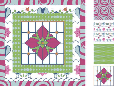 matching: Set of four matching repeating patterns