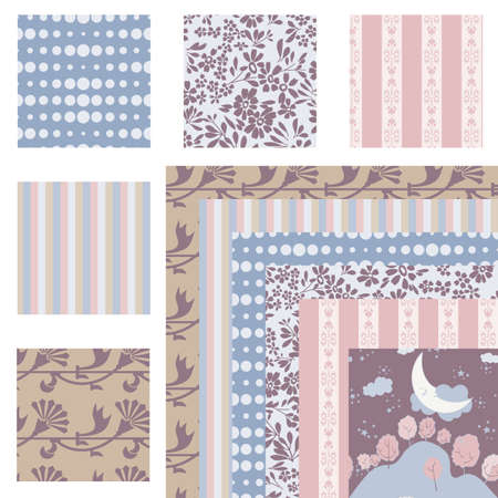 Set of 6 harmonious repeating patterns Vector