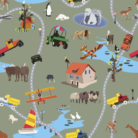 sheep road sign: Big World For Little People - Seamless Pattern