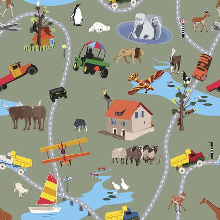 bach: Gro�e Welt f�r kleine Leute - nahtlose Muster  Illustration
