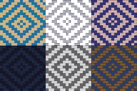 Assorted Wowen Seamless Patterns Vector