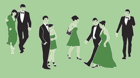 dress up: Formal dressed up people set