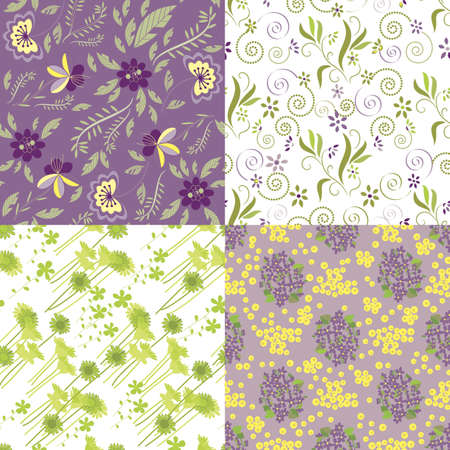 Matching Floral Patterns Vector