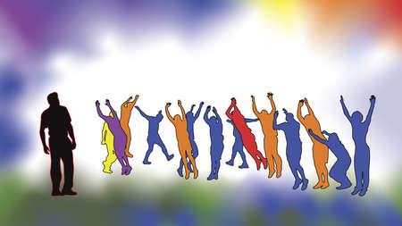 bras lev�: exercice de personnes Illustration