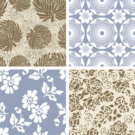 4 つのシームレスな花模様のタイルのセット  イラスト・ベクター素材