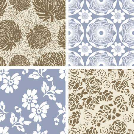 Set of 4 Seamless Floral  Pattern Tiles Vector