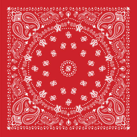 headscarf: Bandana design in red and white