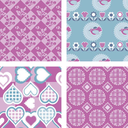 Set of 4 Patchwork Quilt Fabric Patterns Vector