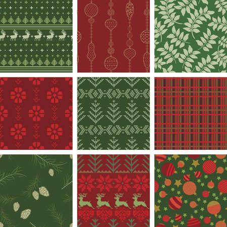 シームレスなクリスマス パターン タイルのコレクション