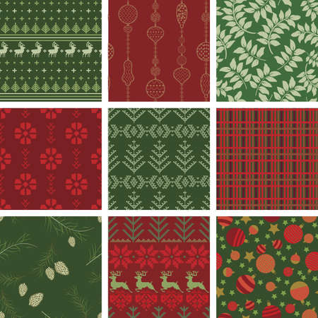 old fashioned christmas: Seamless Christmas Pattern Tile Collection Illustration