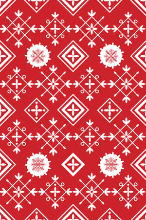 Red and White Xmas Table Linen Design Vector