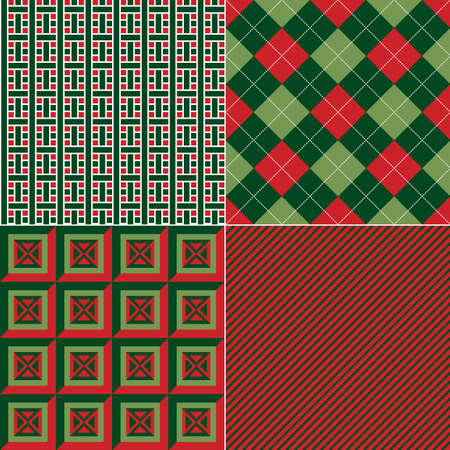 Set of repeating geometric patterns in Christmas colours  Vector