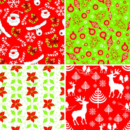 Set of Christmas Fabric Swatches Vector