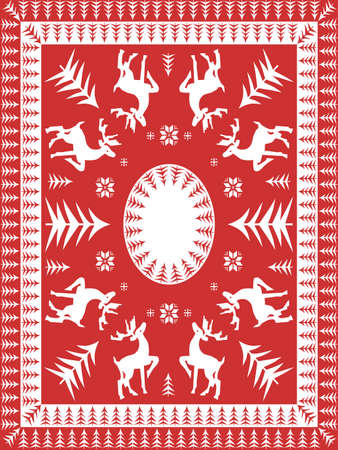 Red and White Festive Table Linen Design Vector
