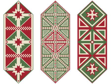 Set of Ornamental Christmas Table Runners Stock Vector - 9679484