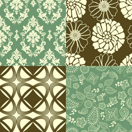 Set of tiling wallpaper patterns Illustration