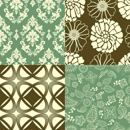 Set of tiling wallpaper patterns Illustration
