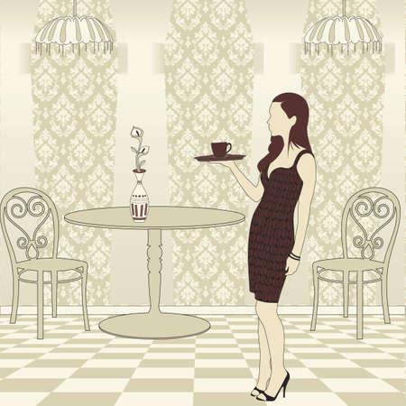女の子のサービングのコーヒー  イラスト・ベクター素材