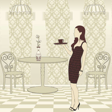 caffe: Girl Serving Coffee Illustration